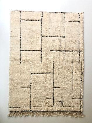 Tapis berbère Beni Ouarain à motifs géométriques noirs 2,47x1,79m