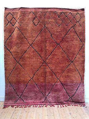 Tapis berbère Beni Ouarain rouille et rouge passé à losanges 2,66x2,28m