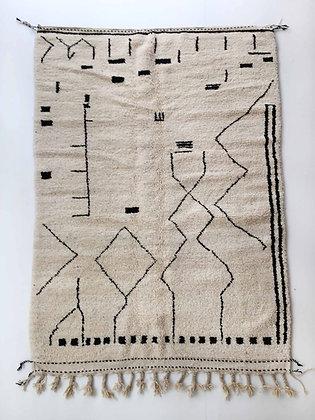 Tapis berbère Beni Ouarain écru à motifs noirs 2,58x1,65m