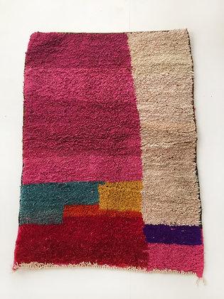 Tapis berbère Boujaad à aplats colorés 1,50x1,10m