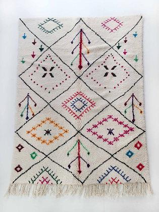 Tapis berbère Azilal écru à motifs colorés 2,57x1,70m