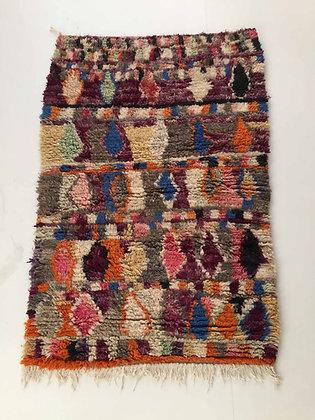 Tapis berbère Boujaad à motifs colorés 1,45x0,98m