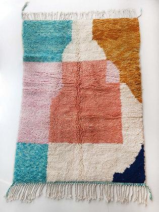 Tapis berbère Beni Ouarain écru à motifs colorés 2,30x1,50m