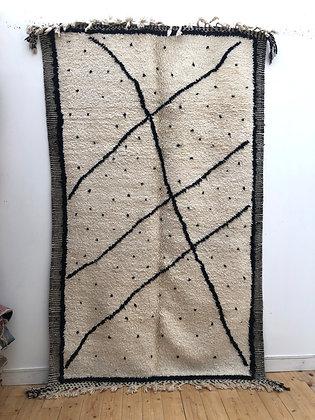 Tapis berbère Beni Ouarain à pois et lignes noires 2,65x1,60m