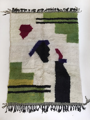 Tapis berbère Beni Ouarain à motifs colorés 2,42x1,61m