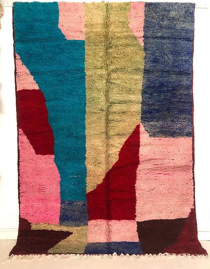 Tapis berbère Boujaad a aplats colorés 2,76x1,95m