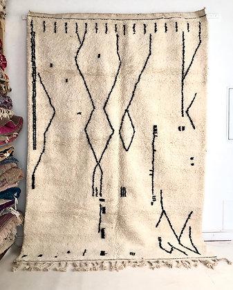 Tapis berbère Béni Ouarain à motifs graphiques noirs 2,96x2,03m