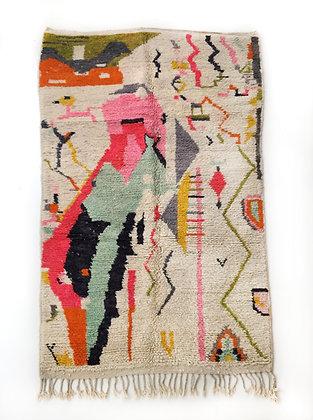 Tapis berbère Boujaad à motifs colorés 2,47x1,42m