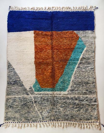 Tapis berbère Beni Ouarain chiné à motifs colorés 2,89x2,13m