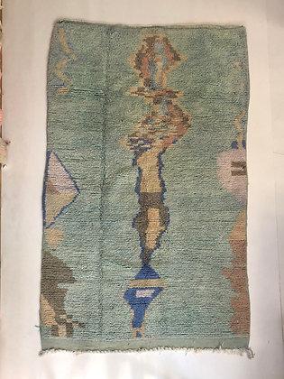 Tapis berbère Boujaad vert d'eau à motifs 2,43x1,50m