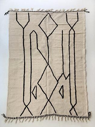 Kilim berbère écru à motifs noirs 3,15x1,98m