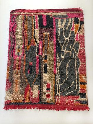 Tapis berbère Boujaad à motifs colorés 2,03x1,59m