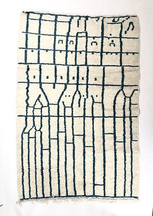 Tapis berbère Azilal à motifs bleu 2,35x1,57m
