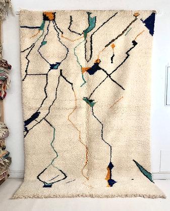 Tapis berbère Beni Ouarain à motifs colorés 3,07x2,03m