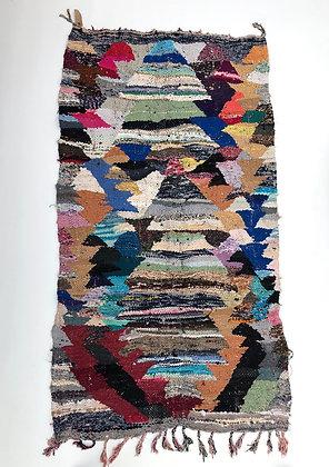 Tapis berbère Kilim Boucherouite 2,14x1,15m
