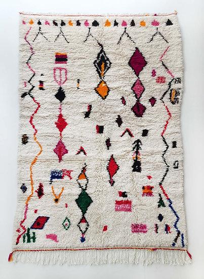 Tapis berbère Azilal écru à motifs colorés 2,40x1,47m