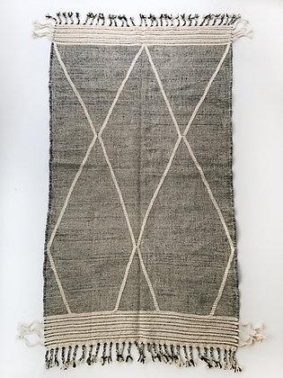 Kilim berbère Zanafi écru et noir 2,62x1,39m