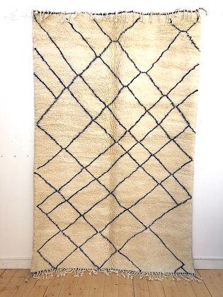Tapis berbère M'rirt à lignes bleu marine 2,65x1,65m