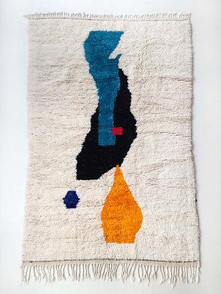 Tapis berbère Beni Ouarain écru à motifs colorés 2,56x1,51m