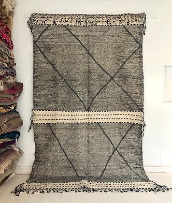 Kilim berbère zanafi noir et blanc 3,1x1,80m