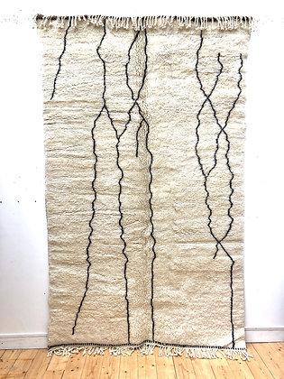 Tapis berbère M'rirt à motifs libres noirs 2,64x1,61m
