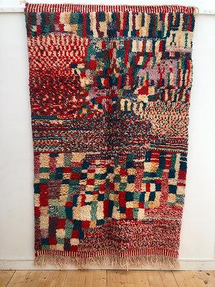 Tapis berbère Beni Ouarain à motifs colorés 2,46x1,54m
