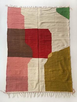 Kilim berbère écru et aplats colorés 2,85x1,90m