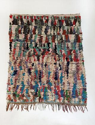 Tapis berbère Boucherouite à motifs colorés 1,80x1,36m