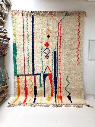 Tapis berbère Azilal à motifs colorés 2,95x2,08m