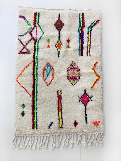 Tapis berbère Azilal à motifs colorés et fluo 1,57x1,01m