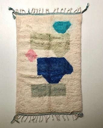 Tapis berbère Beni ouarain à motifs colorés 1,97x1,32m