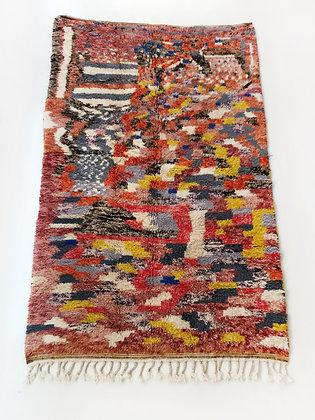 Tapis berbère Beni Ouarain motifs colorés 2,46x1,62m