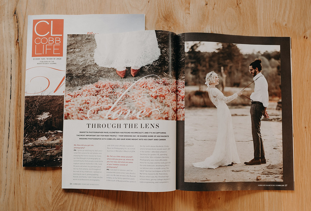 Shot of my article in Cobb Life Magazine. Article title is Through the Lens
