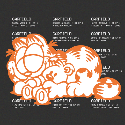 inspired by: Garfield.   fonts: Garfield Dingbats & VCR Mono.