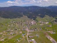 Philipsburg Montana aerial view looking east