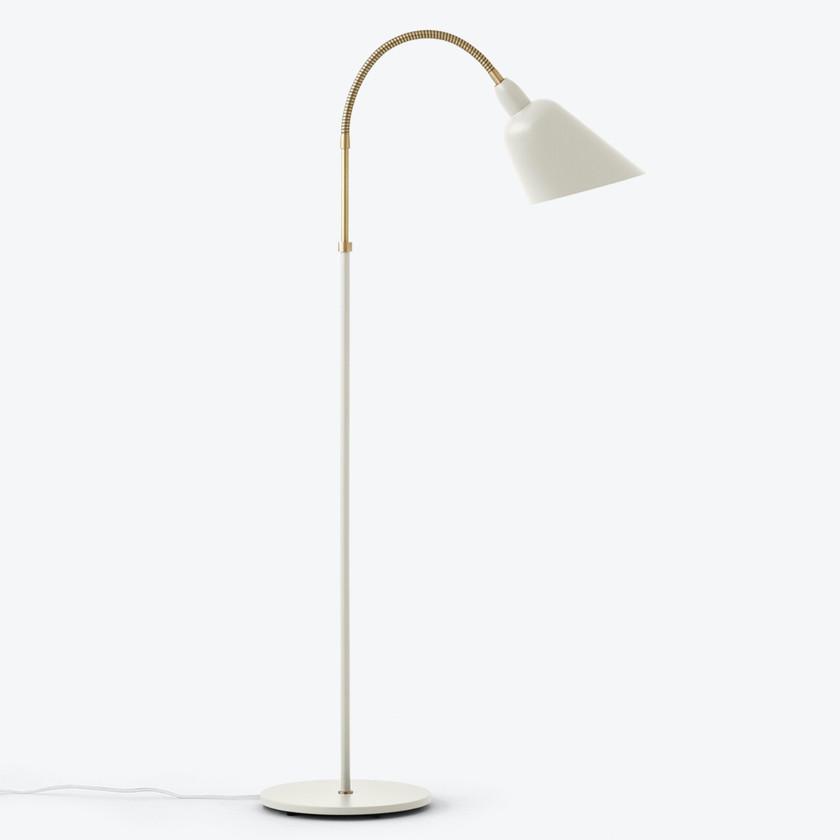White & Brass Floor Lamp