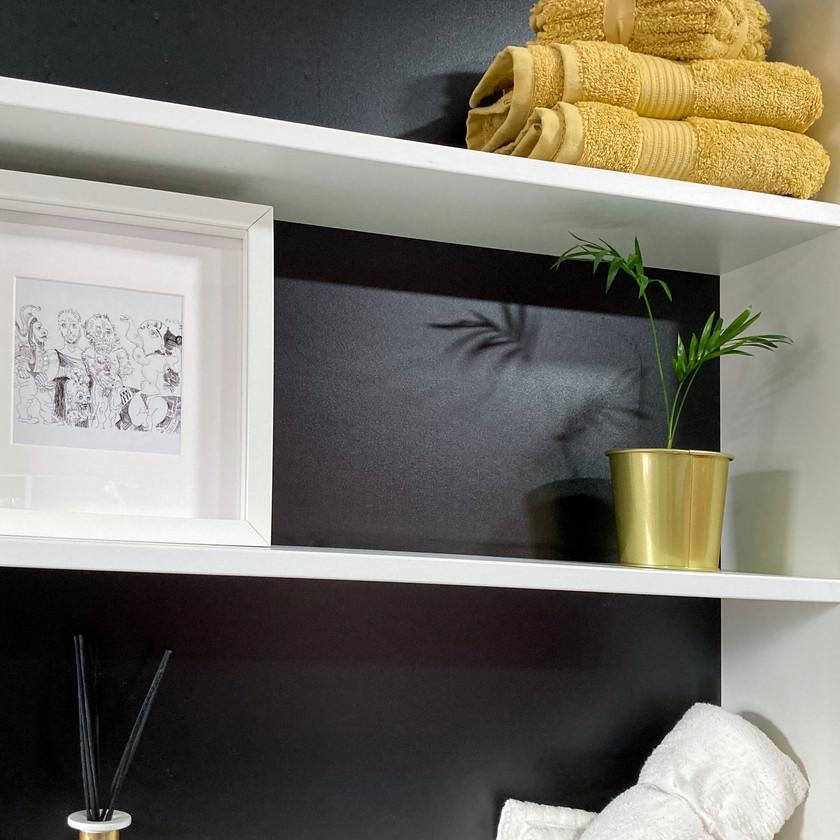 Brass Planter on monochrome shelves
