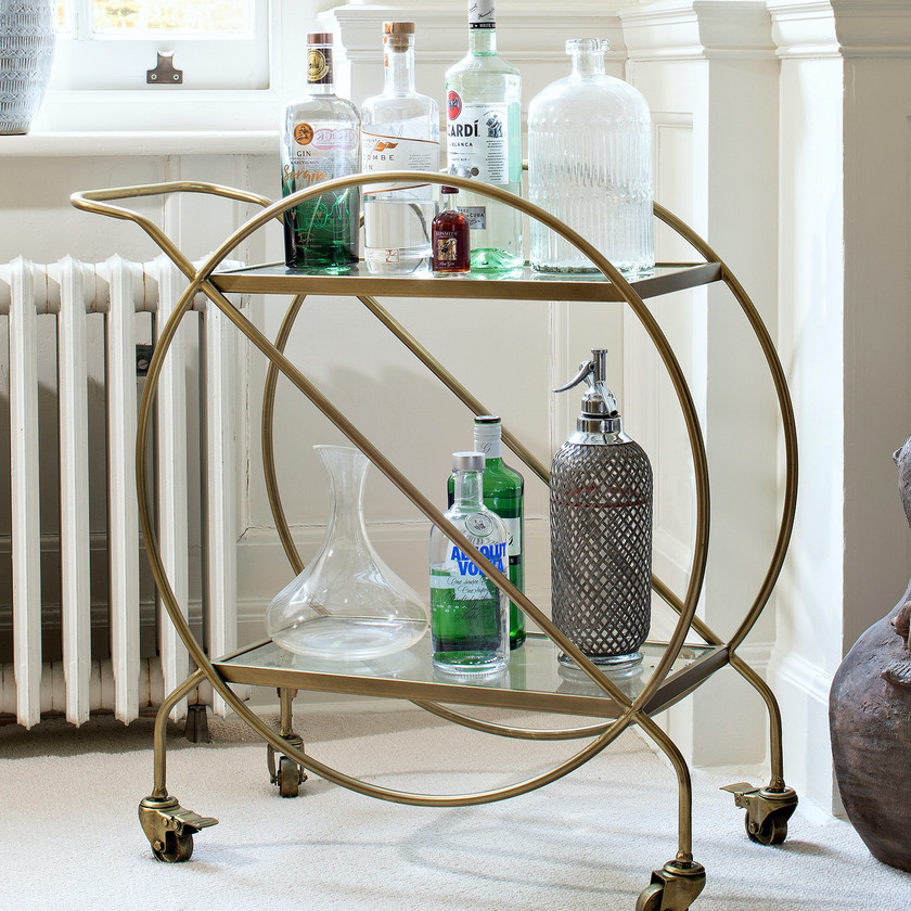 Brass & Glass Drinks Trolley