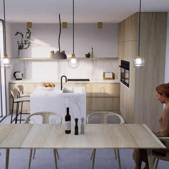 Kitchen Dining 3D Render