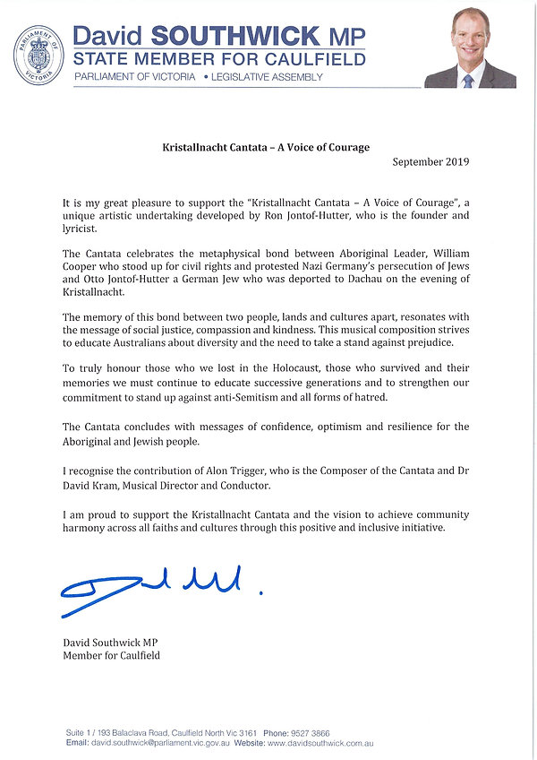 Letter of Support - Kristallnacht Cantat