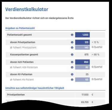 Perspektive Hausarzt Verdienstkalkulator Webdesign