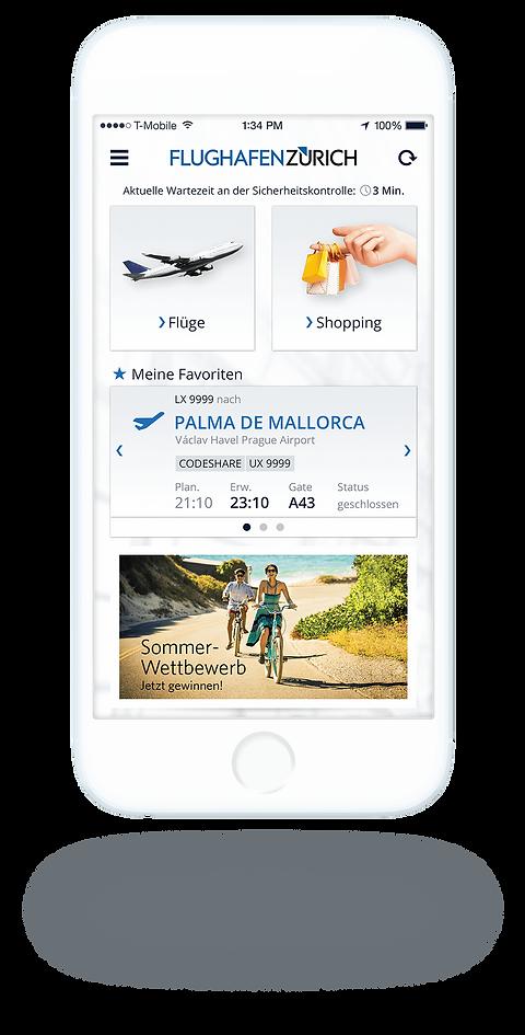 Flughafen Zürich App Startscreen