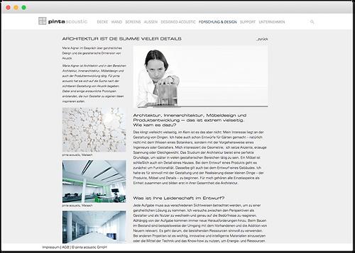 pinta acoustic website aus forschung und design
