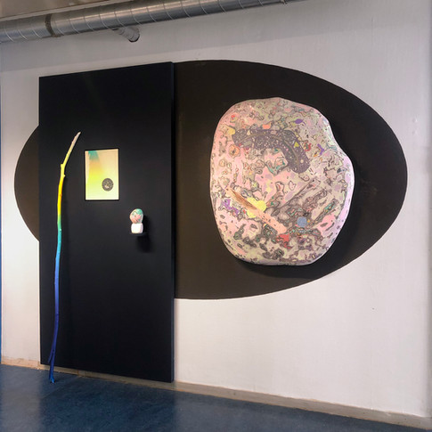 Worship of the Orb of the Day. 350 x 280 cm pigmented plaster, wood, paint.