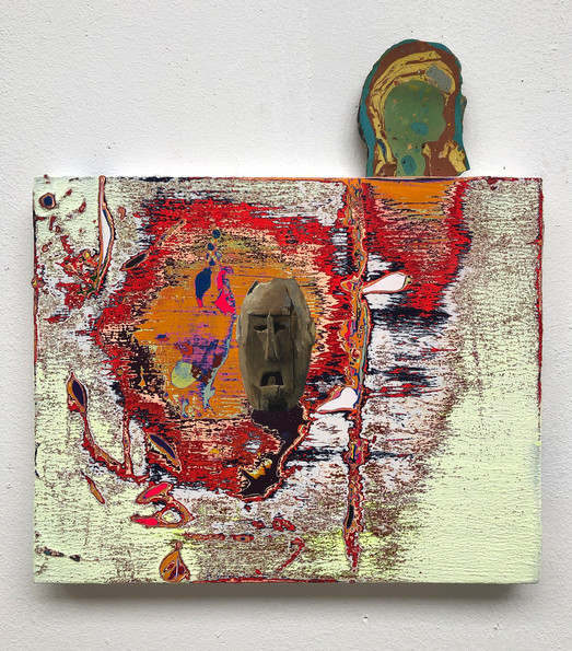 Africa's Antiquated Autonomy Mixed paint on wood + pigmented plaster 30 x 30 cm
