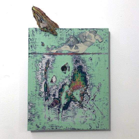 Europa's Everlasting End 30 x 24 cm (+ 7cm) Mixed paint on wood + pigmented plaster Private Collection