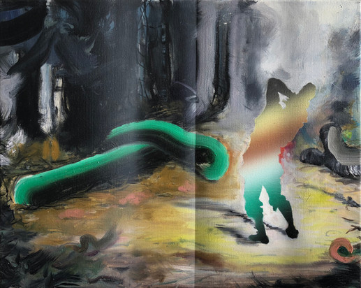 Natural Deception 50 x 40 cm mixed paint on canvas