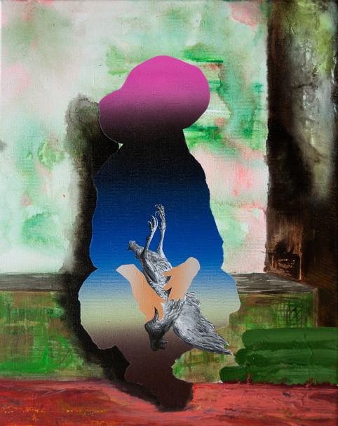Corporate Deceptions (Original) no.2  50 x 40 cm mixed paint on canvas