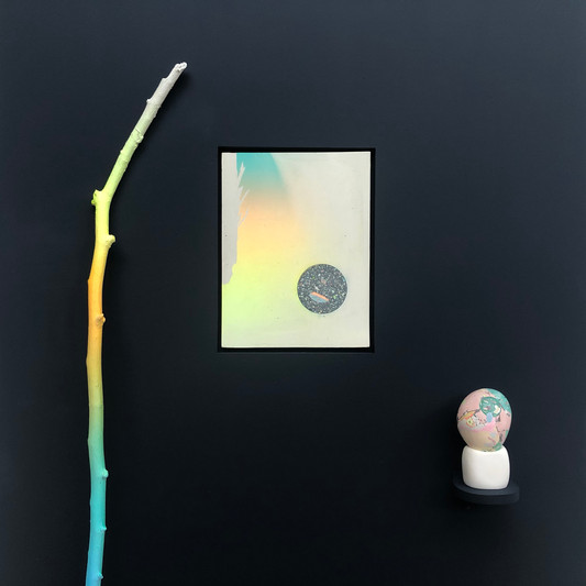 Worship of the Orb of the Day. 350 x 280 cm pigmented plaster, wood, paint. detail