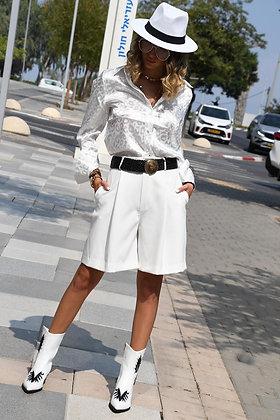 חולצת סאטן לבנה